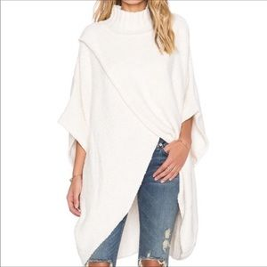 Free People All Wrapped Up Cream Poncho